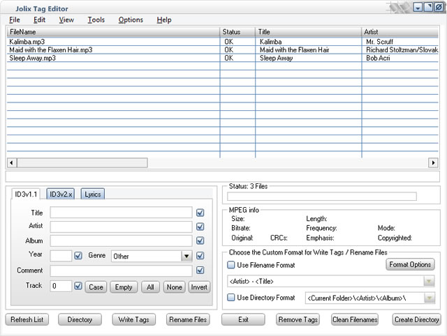 Jolix Tag Editor Screen shot